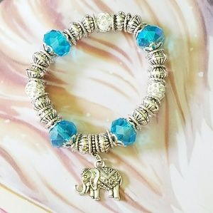 Elephant bracelet with blue and silver